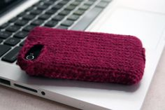 Maroon knit phone sweater case for iPhone by elisemade on Etsy