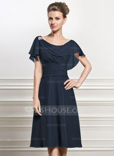 A-Line Princess Cowl Neck Knee-Length Chiffon Mother of the Bride Dress  With Beading Sequins Cascading Ruffles What do you think of this dress for  you  f324f5357