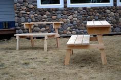Picnic table that converts into two benches. Oh honey... got a project for you!!