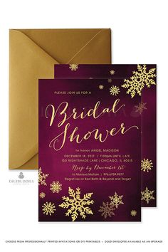 Beautiful modern bridal shower invitations with calligraphy script in a classic gold over a deep plum purple watercolor background and gold snowflake details. Printed gold and purple invitations or printable Bridal Shower invites designed exclusively by Digibuddha. digibuddha.com