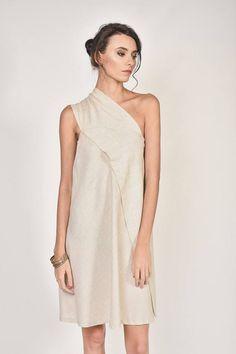 SALE New Mini Elegant Dress / Natural Beige Sexy Linen Dress