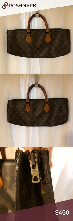 """Louis Vuitton sac tricot authentic Louis Vuitton sac tricot authentic L16"""" H6"""" W3"""" Date code 831 Condition Interior (great) Interior is in great condition with no peeling or sticky ness. Exterior (good) Handles have normal darkening patina  Eclair zipper is functional- wear on end of zipper is present see photos Traditional monogram canvas is in good condition Louis Vuitton Bags"""