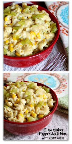 Crockpot Pepper Jack Mac: A creamy, comforting and slightly spicy macaroni and cheese that's made in the slow cooker. This is a perfect side dish for dinner or an offering at a potluck.   http://www.365daysofcrockpot.com/2015/08/slow-cooker-pepper-jack-macaroni.html