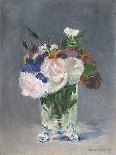 Édouard Manet, Flowers in a Crystal Vase, ca. 1882. Oil on canvas, 12-7/8 x 9-5/8 in. National Gallery of Art, Washington, D.C., Ailsa Mellon Bruce Collection, 1970.17.37.