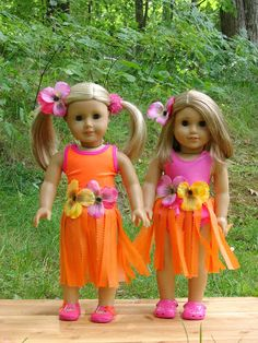 American Girl Doll Play: Making Doll Hula Skirts using Plastic Tableclothes
