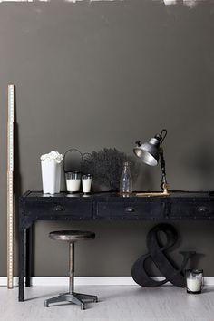 color inspiration for bedroom--dark grey walls; cream trim; black headboard and bedside tables; cream, silver, glass decor;