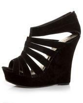 """Yoki Alyson Black Velvety Platform Cage Wedges"" from Lulus.com #shoes #heels"