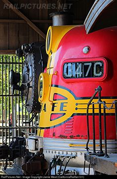 ATSF 347C, a Warbonnet-painted EMD F7A, sits inside the California State Railroad Museum's old Sacramento Southern Depot during Amtrak Train Days 2015.