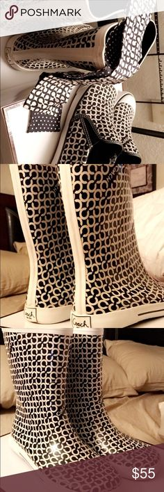 COACH URSULA RAIN BOOTS Size 8 EXCELLENT CONDITION AND SUPER CUTE. Can be sold as a bundle if interested please feel free to ask questions Coach Shoes Winter & Rain Boots
