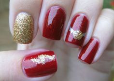 Gryffindor Inspired mani :) my-nails Harry Potter Nails Designs, Harry Potter Nail Art, Love Nails, How To Do Nails, Pretty Nails, Dream Nails, Holiday Nail Designs, Nail Art Designs, Red Christmas Nails