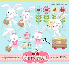 Cute Easter Bunny Digital Clipart Set for by Cherryclipart on Etsy, $4.50