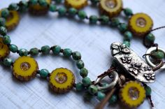 Yellow Daisy Bracelet - Bohemian Wrap Bracelet - Knotted Wrap Bracelet - Turquoise and Yellow - Butterfly - Bead Soup Jewelry