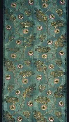 France or England (Chicago Art Institute)    Panel, Early 18th century    Silk, gilt-metal strip, and gilt-metal-strip-wrapped silk (filé and frisé), plain weave with supplementary patterning wefts and brocading wefts and weft-float faced interlacing of secondary binding warps and some supplementary brocading wefts  109.7 x 54.5 cm (43 1/4 x 21 1/2 in.)  Repeat: 43.8 x 26.5 cm (17 1/4 x 10 1/2 in.)  Gift of the Antiquarian Society, 1894.32a-c
