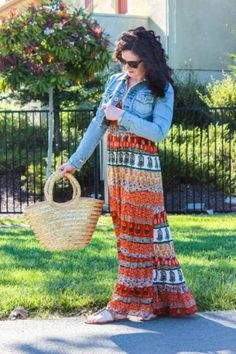 tribal maxi dress with jean jacket, Ways to style your summer maxi dress http://www.justtrendygirls.com/ways-to-style-your-summer-maxi-dress/