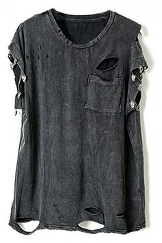 Buy Studed Distressed Letters Claw Print T-shirt from abaday.com, FREE shipping Worldwide - Fashion Clothing, Latest Street Fashion At Abaday.com