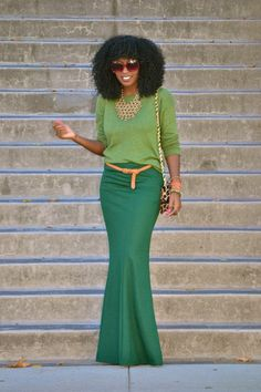Light green with medium green color block with a yellow belt #monochromatic