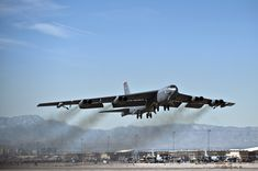 A U.S. Air Force B-52 Stratofortress from the 96th Bomb Squadron, Barksdale Air Force Base, La., takes off from Nellis Air Force Base, Nev. during a training mission at Red Flag 11-2 Feb. 3, 2011.