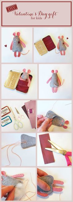 ♥ Mouse in an Altoids Tin 'Bed' - Adorable Valentine's Day Gift for Kids ♥ - Click for Complete Tutorial & Printable Pattern