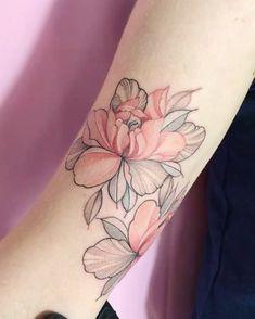 Black and red Flower tattoo Pink Flower Tattoos, Red Tattoos, Hair Tattoos, Body Art Tattoos, Sleeve Tattoos, Tatoos, Mastectomy Tattoo, Simplistic Tattoos, Dibujos Tattoo