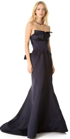 Strapless Satin Gown