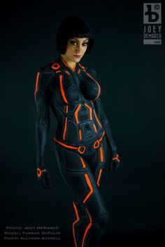 Tron: Legacy Body Paint Cosplay, Body Paint by Allyson Averell, Cosplayer: Farrah DeFulio, photos by Joey D.