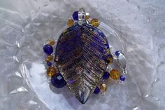 OOAK Amber and Deep Blue Lampwork and Czech Glass by EgeriasWell, $75.00