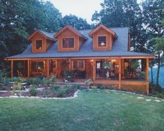 Love the big porch and the fact that its log