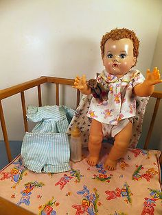 "Vintage 1950s STROMBECKER PLAYPEN & 16"" IDEAL BETSY WETSY BABY DOLL w/ Layette"
