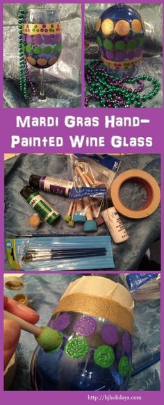 Mardi Gras Crafts. Idea for a girls' night out to make painted wine glasses