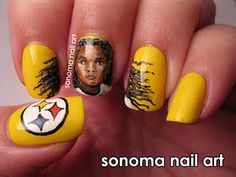 Troy Polamalu Steelers - Sonoma Nail Art mostly-nails So Nails, Nails Only, How To Do Nails, Cute Nails, Pretty Nails, Hair And Nails, Colorful Nail Designs, Nail Art Designs, Football Nail Art
