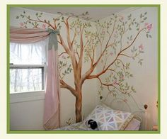 Style tree in painted in the corner with butterflies and faries