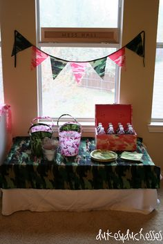 a pink/green camo party