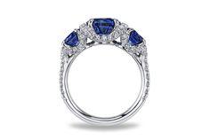 Three-Stone Sapphire and Diamond Ring - in Platinum (0.61 CTW) - Rc1240 sard 2