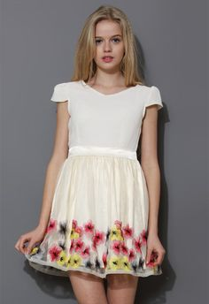 Color Floral Embroidery Tulle Dress