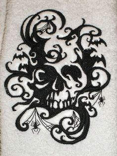 Items similar to 6 piece SET Bath towels - Skull Shadows- Embroidered, more colors available skull bathroom gothic housewares skull home decor on Etsy Skull Tattoos, Tribal Tattoos, Stencil Templates, Stencils, Mirror Tattoos, Pillow Embroidery, Skull Design, Amazing Pics, Disney Halloween