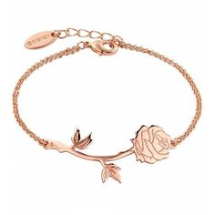 Rose Gold Plated Beauty The Beast Rose Bracelet ($29) ❤ liked on Polyvore featuring jewelry and bracelets