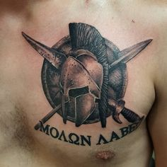 banged out this black&gray spartan chest tattoo in about 2 hrs today (lettering was already healed)