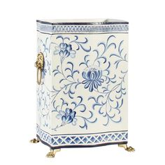 This is a blue and white wastebasket by Chelsea House Inc. The piece is hand painted on tole, featuring lion's head handles. Blue And White Vase, White Vases, Oriental, Wood Waste, Luxury Home Decor, Bathroom Interior Design, Bathroom Layout, Modern House Design, Decoration