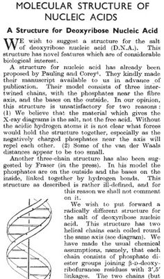 Watson and Crick's 1953 Nature paper on the structure of DNA.
