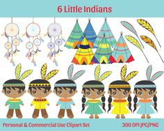CUTE INDIANS & TEEPEES Clipart Commercial Use Ok Indians Teepees, Dreamcatchers, Feathers Clip Art Digital Graphics Instant Download Jpg/Png by ClipArtBrat on Etsy
