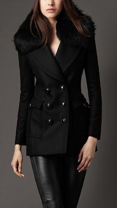 Burberry Fur Collar Pea Coat