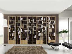 Bibliothèque murale en bois ESPACE by Domus Arte design Enrico Bedin