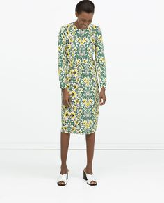 Image 1 of GATHERED SEAM DRESS from Zara - thought the print of this was so pretty and were great colors for you....the length is too long for you so if you liked it you could always buy and then get altered to be shorter!