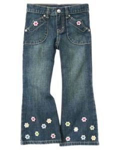Gymboree Girls Size 12 Showers of Flowers Decorated Jeans Pants Adj Waist  NEW  Gymboree   2360a780b3a
