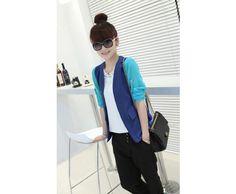 ロールアップスリーブ・シフォン・ノーカラートッパージャケット ブルー クーポンコード:ANYTIME11%OFF #fashion #ファッション