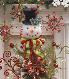 RAZ Snowman Tree Topper and Lighted Top Hat Holiday on Ice Centerpiece Trendy Tree Blog