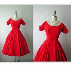 50's Velvet Dress // Vintage 1950's Red Velvet by TheVintageStudio, $124.00