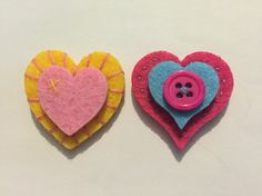 Handmade heart felt brooches