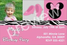 Pretty In Pink Photo Invitation (Similar to Minnie Mouse)Our Pretty In Pink Photo Invitation is great for Minnie Mouse theme parties! It features girly pink colors, pink shoes and  a mouse graphic with a bow! You can upload a photo to add an extra special touch!