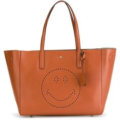 Anya Hindmarch Smiley Maxi Featherweight Ebury Tote (€995) ❤ liked on Polyvore featuring bags, handbags, tote bags, anya hindmarch, anya hindmarch handbags, brown tote bag, brown purse and brown handbags